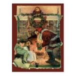 Navidad del vintage, chimenea de Papá Noel del Vic Postales