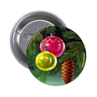 Navidad del vintage, chucherías y conos del pino pin redondo de 2 pulgadas