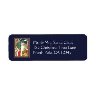 Navidad del vintage, ciervos de Papá Noel en Etiqueta De Remitente