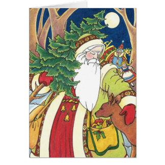 Navidad del vintage, ciervos de Papá Noel en Tarjeta De Felicitación