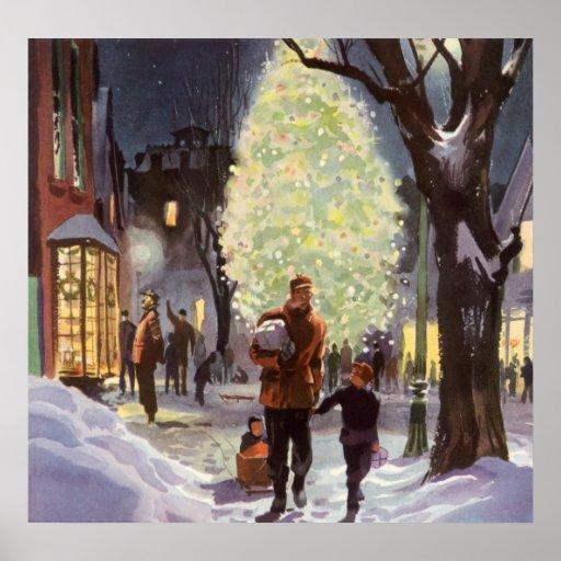 Navidad del vintage, compras del papá con los niño impresiones