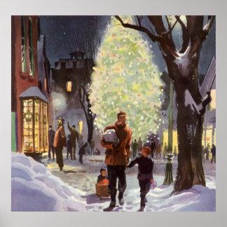 Navidad del vintage, compras del papá con los impresiones