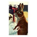 Navidad del vintage, conejos en nieve en invierno