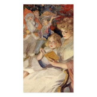 Navidad del vintage, cuento de la lectura de la tarjetas de visita
