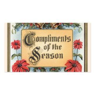 Navidad del vintage, cumplidos de la estación tarjetas de visita