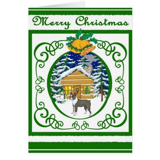 Navidad del vintage de Boston Terrier Tarjeta De Felicitación