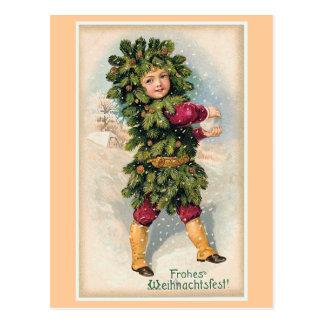 Navidad del vintage de Frohes Weihnachtsfest Tarjeta Postal