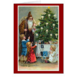 "Navidad del vintage de ""Frohliche Weihnachten"" Tarjetón"