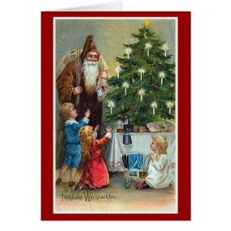 Navidad del vintage de Frohliche Weihnachten Tarjeta De Felicitación