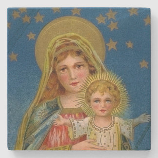 Navidad del vintage de Jesús de Maria y del bebé Posavasos De Piedra