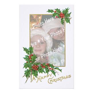 Navidad del vintage de la Añadir-UNO-Foto felices Papelería Personalizada