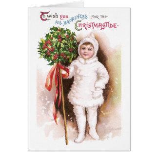 Navidad del vintage de la bola del chica y del ace tarjeta de felicitación