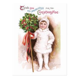 Navidad del vintage de la bola del chica y del postales