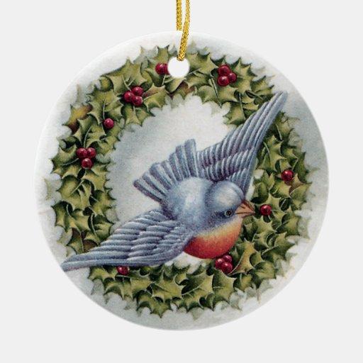 Navidad del vintage de la guirnalda del Bluebird y Adorno Para Reyes