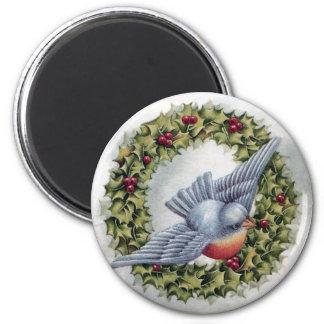 Navidad del vintage de la guirnalda del Bluebird y Imán Redondo 5 Cm