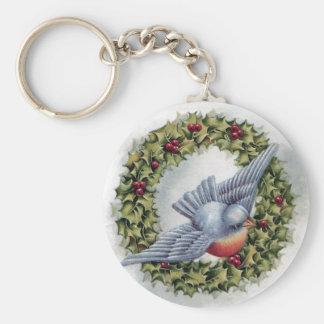 Navidad del vintage de la guirnalda del Bluebird y Llavero Personalizado