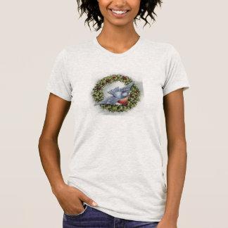 Navidad del vintage de la guirnalda del Bluebird y Camiseta