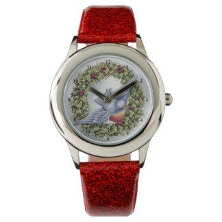 Navidad del vintage de la guirnalda del Bluebird y Relojes