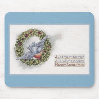 Navidad del vintage de la guirnalda del Bluebird y Alfombrillas De Raton