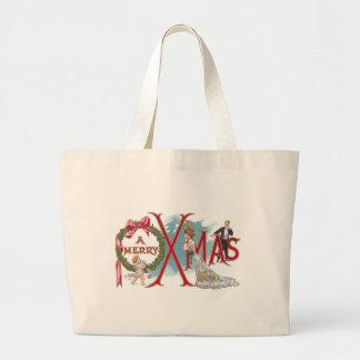 Navidad del vintage de la guirnalda y del Cupid Bolsas