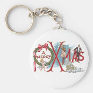 Navidad del vintage de la guirnalda y del Cupid Llavero Redondo Tipo Pin