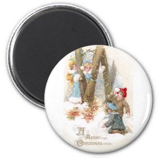 Navidad del vintage de la lucha de la bola de niev imán para frigorifico