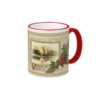 Navidad del vintage de la reproducción, escena del taza a dos colores