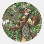 Navidad del vintage de las bayas de la señora y etiquetas redondas