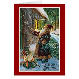 """""""Navidad del vintage de las Felices Navidad"""" Tarjeta De Felicitación"""