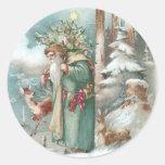 Navidad del vintage de los animales de Santa y del Etiquetas Redondas