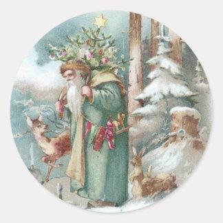 Navidad del vintage de los animales de Santa y del Pegatina Redonda