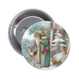 Navidad del vintage de los animales de Santa y del Pin Redondo De 2 Pulgadas