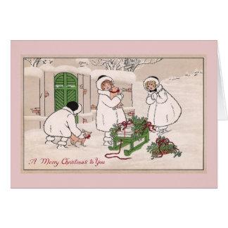Navidad del vintage de los chicas y de los cerdos  felicitaciones