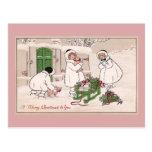 Navidad del vintage de los chicas y de los cerdos  tarjeta postal