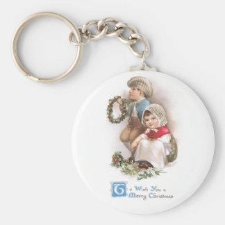 Navidad del vintage de los fabricantes de la guirn llavero personalizado