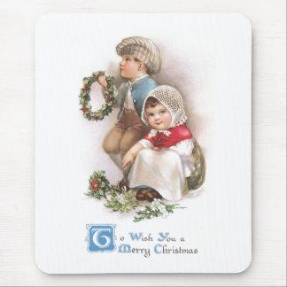Navidad del vintage de los fabricantes de la guirn tapetes de raton