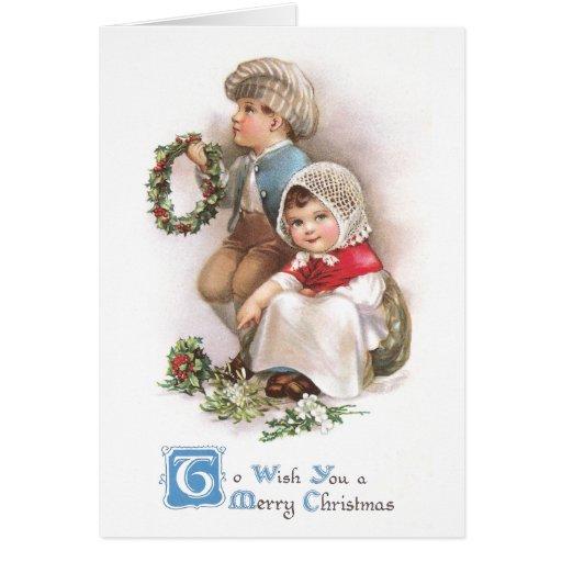 Navidad del vintage de los fabricantes de la guirn tarjeta de felicitación