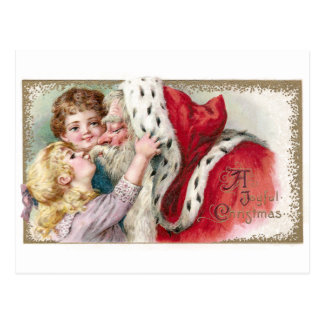 Navidad del vintage de Papá Noel del chica que se  Tarjetas Postales