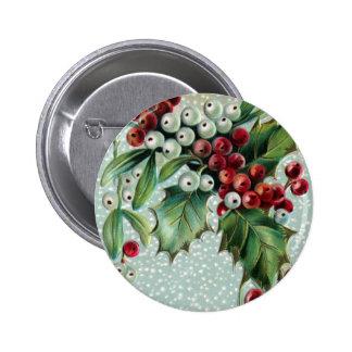 Navidad del vintage del acebo y del muérdago pin redondo de 2 pulgadas