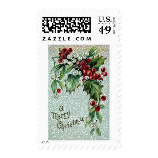 Navidad del vintage del acebo y del muérdago sellos