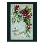 Navidad del vintage del acebo y del muérdago postal