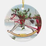 Navidad del vintage del caballo mecedora adorno redondo de cerámica