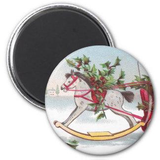 Navidad del vintage del caballo mecedora imán redondo 5 cm