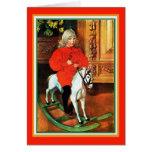 Navidad del vintage del caballo mecedora y del niñ tarjeton