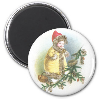 Navidad del vintage del chica y de la jerarquía imán redondo 5 cm