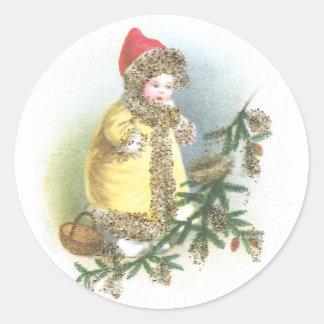 Navidad del vintage del chica y de la jerarquía pegatina redonda