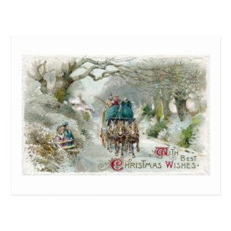Navidad del vintage del paseo del carro del invier tarjeta postal