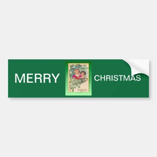 Navidad del vintage, dos chicas y un árbol etiqueta de parachoque