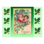 Navidad del vintage, dos chicas y un árbol postal