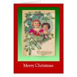 Navidad del vintage, dos chicas y un árbol tarjeta de felicitación